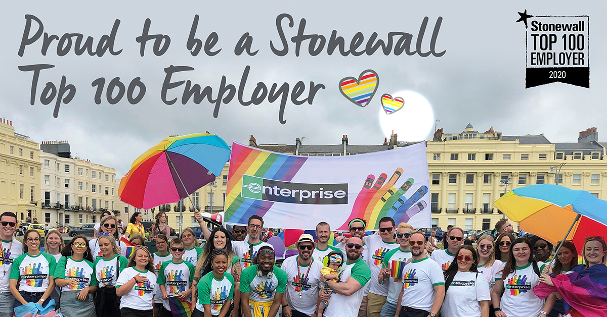 Enterprise Named Stonewall Top 100 LGBT+ Inclusive Employer
